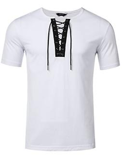 COOFANDY Mens Casual Hipster Hip hop Lace up Cotton T-Shirts
