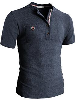 H2H Mens Casual Marble Henley Slim Fit Short Sleeve Waffle S