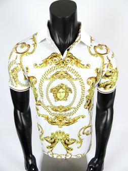 Mens Niko Casual Polo Shirt White with Gold Leaf Florals Sli