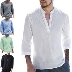 Mens Polo Shirts Casual Cotton Button Beach Loose Long Sleev