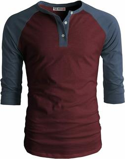 H2H Mens Casual Premium Slim Fit Henley 3/4 Sleeve T-Shirts,