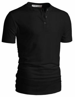 H2H Mens Casual Premium Slim Fit Henley T-Shirts Short Sleev