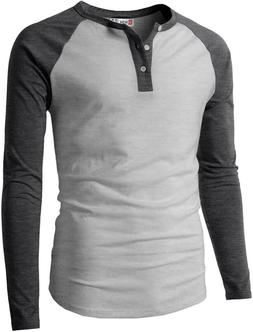 H2H Mens Casual Premium Slim Fit T-Shirts Henley Long  3/4 S