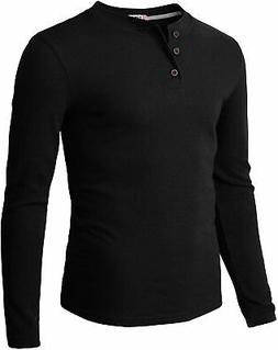 H2H Mens Casual Slim Fit Henley Long Sleeve T Shirts of Waff