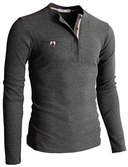 H2H Mens Casual Slim Fit Henley Shirts With Bound Pocket of