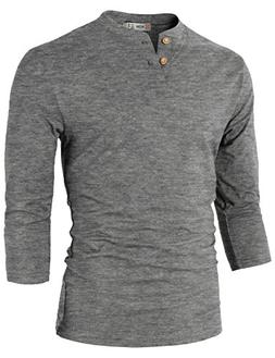 H2H Mens Casual Slim Fit Henley T-Shirt 3/4Sleeves Charcoal