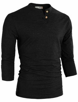 H2H Mens Casual Premium Slim Fit Henley Shirts Lightweight T