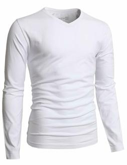 H2H Mens Casual Slim Fit Long Sleeve V-Neck T-Shirts of Vari