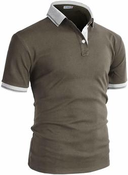 H2H Mens Casual Slim Fit Polo Brown US M/Asia Large, KMTTS05
