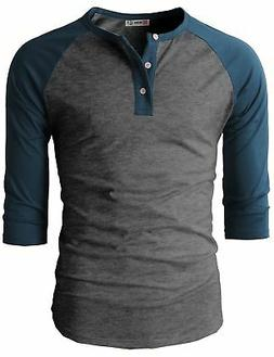H2H Mens Casual Slim Fit Raglan 3/4 Sleeve Henley T-Shirts C