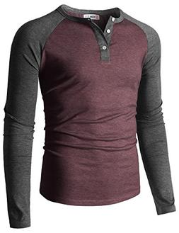 H2H Mens Casual Slim Fit Raglan Baseball Long Sleeve Henley