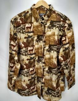 Woolrich Mens Chamois Cotton Flannel Shirt Size Large Brown