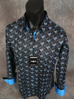 Mens Barabas Classic Fit Shirt Black with Blue Floral Patter