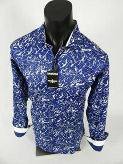 Mens Barabas Classic Fit Shirt Blue White Confetti Abstracts