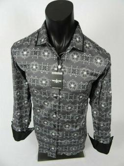 Mens BARABAS Classic Fit Shirt Grey with Floral Paisley Prin