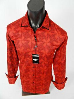 Mens BARABAS Classic Fit Shirt in Red Jacquard Floral Prints