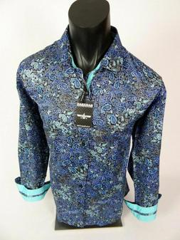 Mens Barabas Classic Fit Shirt Teal Blue with Designer Paisl