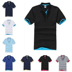 Mens Classic Short Sleeve Summer Golf Sport Shirts Solid T-S