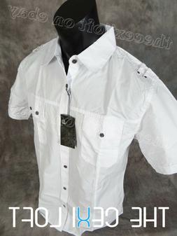 Mens CLASSIC White Short Sleeve Button-Up Shirt with Cargo C