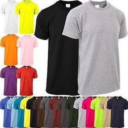 Mens Crew Neck T SHIRTS ACTIVE Solid Tee Short Sleeve Comfor