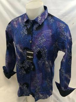 Mens BARABAS Designer Shirt BLUE ABSTRACT MULTI COLOR SLIM F