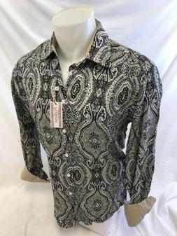 Mens STEFANO Designer Shirt BROWN PAISLEY MULTI COLOR CLASSI