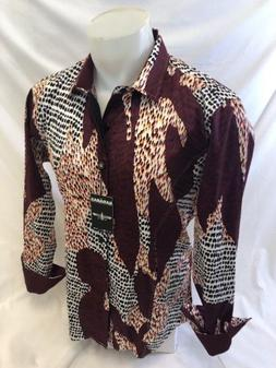 Mens BARABAS Designer Shirt Woven WINE ABSTRACT MULTI COLOR