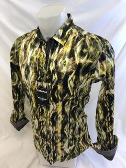Mens BARABAS Designer Shirt YELLOW ABSTRACT MULTI COLOR SLIM