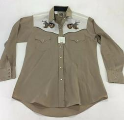 Mens Ely Country Music Pearl Snap Shirt White Tan Guitar Boo