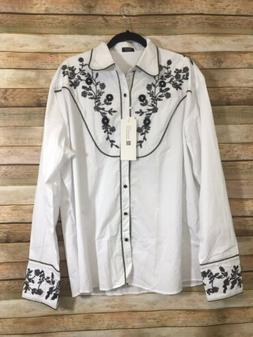 NWT Coofandy Mens Embroidered Floral Design Western Shirt L/