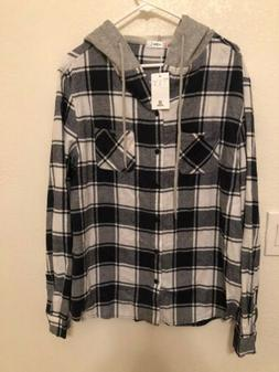 mens flannel hoodie size large