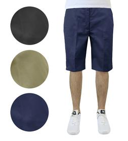 Mens Flat Front Shorts Uniform Work School Lounge Casual Twi