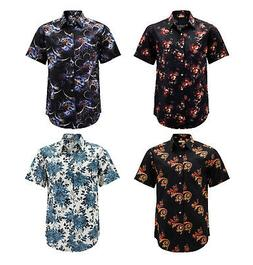 Men's Floral Pattern Casual Button Down Short Sleeve Cotto
