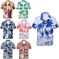 Mens Floral Print Shirts Tops Casual Short Sleeve Blouse Haw