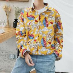 Mens Floral Printed Shirts Tops Long Sleeve Loose Casual T S