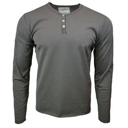 Mens Henley Long Sleeve Shirt Slim Fit Button Pullover CHARC