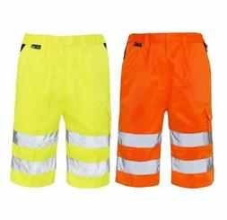 Mens Hi Visibility Shorts With Pockets Adults Summers Work W