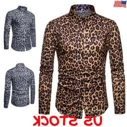 Mens Leopard print Long Sleeve Shirts Casual Slim Fit Cotton