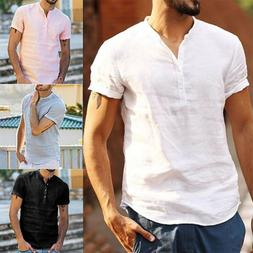 Mens Linen Muscle Shirts Short Sleeve Tee Summer Casual Henl