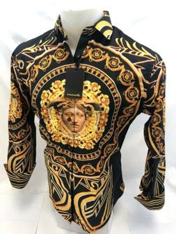 Mens PREMIERE Long Sleeve Button Down Dress Shirt BLACK GOLD