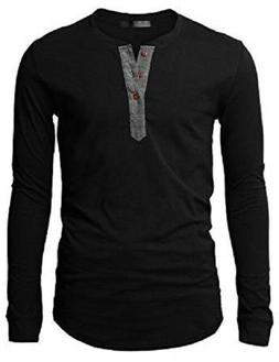 H2H Mens Long Sleeve Henley T-shirts KMT05 CHECK FOR COLOR A
