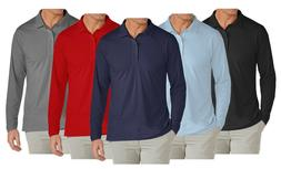 Mens Long Sleeve Long-Tail Polo Shirt Modern Fit Casual 100%