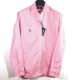 PSYCHO BUNNY Mens Long Sleeve Pink Gingham Button Front Cott