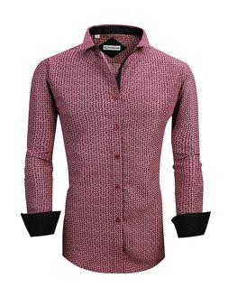 Mens Long Sleeve Printed Dress Shirts Casual Button Down Reg