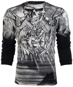 AFFLICTION Mens LONG SLEEVE T-Shirt PUPPET MASTER Motorcycle