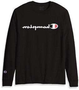 CHAMPION Mens LONG SLEEVE T-Shirt SCRIPT LOGO Supreme BLACK
