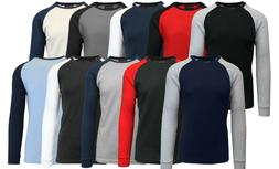 Mens Long Sleeve Thermal Shirt Raglan Tee Crew Neck S M L XL