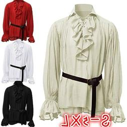Mens Medieval Renaissance Tops Pirate Shirt 18th Century Duk