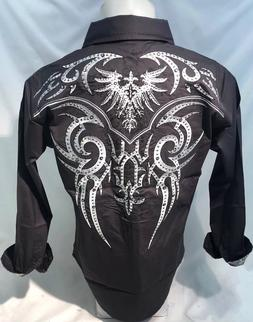 Mens Victorious Phoenix Bird Tribal Button Up Shirt Stones G
