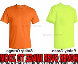 MENS Pocket T-Shirt Safety Yellow Green Orange Gildan Blende